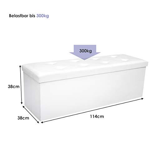 COSTWAY Sitzbank bis 300kg belastbar, Sitzbox Sitzwürfel Bank faltbar, Sitzkasten Polsterhocker Truhe, Sitztruhe PVC-Leder, Aufbewahrungsbox 114 x 38 x 38cm (Weiß) - 2