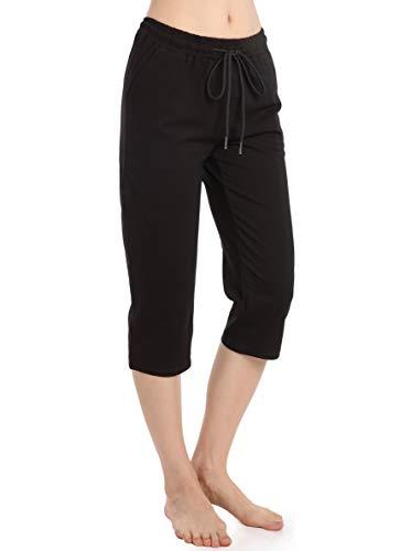 Noir Short Femmes Pantalon Fluide Été avec Poche Grande Taille Pantacourt Sport,S,Noir