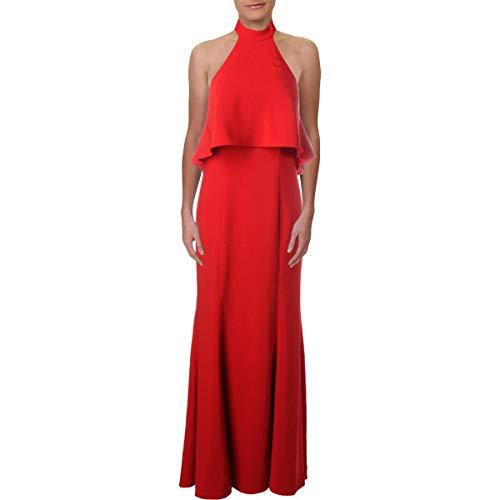 Xscape Womens Petites Halter Ruffled Evening Dress Red 10P