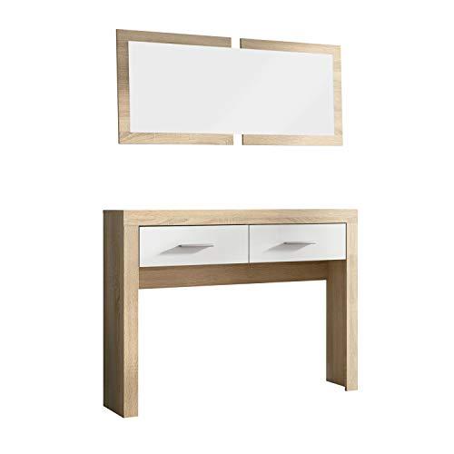 HomeSouth - Recibidor Dos cajones y Espejo, Mueble de Entrada Acabado en Cambria y Blanco, Modelo Lara, Medidas: 115 cm (Largo) x 26 cm (Fondo) x 85 cm (Alto)