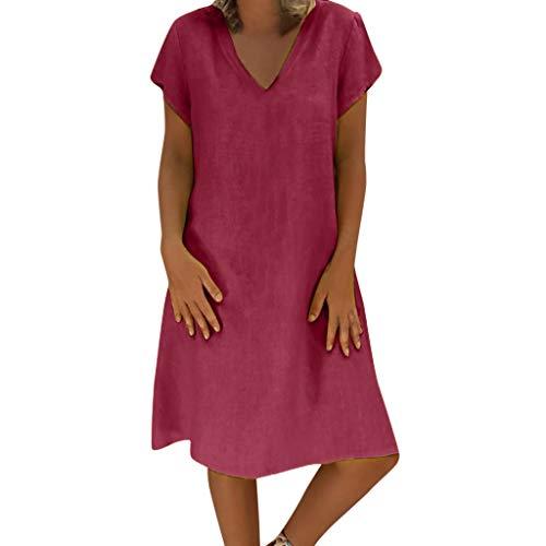 Vrouwen Zomer Stijl Feminino Vestido Jurk - Dames Korte mouw V-hals Effen Kleur Casual Plus Size Dames Shirt Jurk