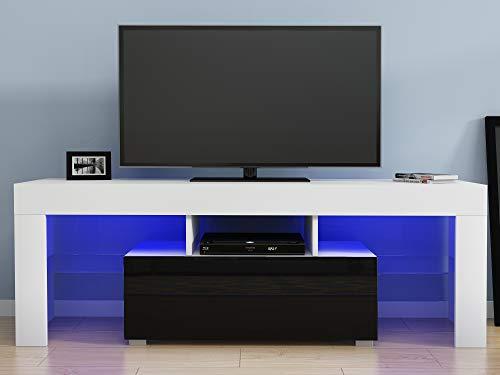 Led TV Cabinets, PALDIN TV Entertainment Unit 130cm Modern Media Television Stand Multi-colour LED RGB Lights With Large Media Storage Drawer For Living Room (Black+White)