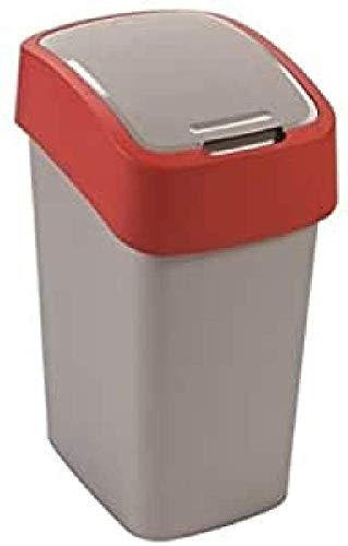 CURVER 2045035 Poubelle Flip Bin 10l en Argent/Rouge, Plastique