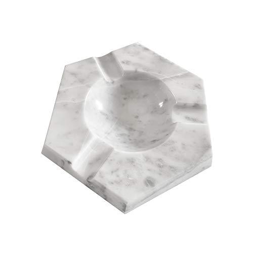 LUHOM LUJOSO HOGAR MEXICO Posacenere Esagonale di Marmo  Porta Cenere per Fumatori   Portacenere   Posacenere xxl   Posacenere per Sigari in Puro in Bego Bianco
