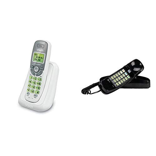 VTech CS6114 DECT 6.0 Cordless Phone with Caller ID/Call Waiting, White/Grey with 1 Handset & AT&T 210 Basic Trimline Corded Phone, No AC Power Required, Wall-Mountable, Black