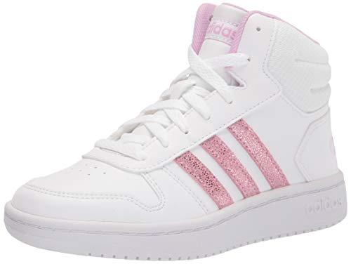 adidas Hoops Mid 2.0 Basketball Shoe, White/Lilac/Grey, 13 US Unisex Little Kid