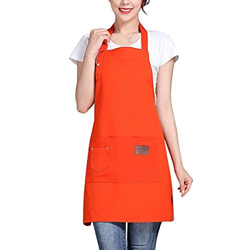 Sidiou Group Baumwolle Leinwand Schürze Kochen Küche Wasserdicht Verstellbare Kochschürze mit Taschen für Home Restaurant Craft Garden BBQ Kaffeehau Schürzen Herren Damen (DREI Schnallen Orange)