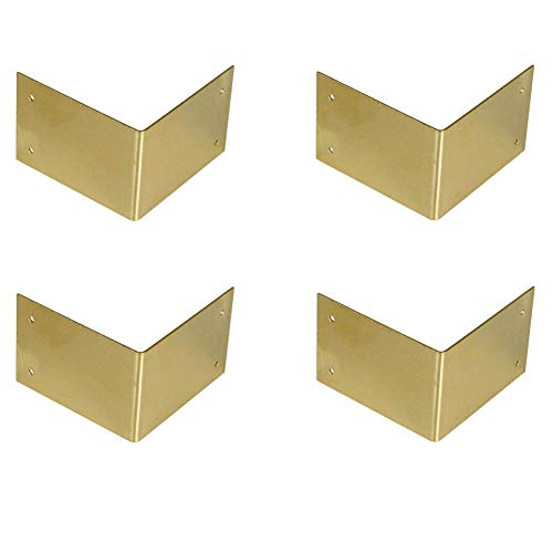 ROOS 4 Piece Vintage Design Edge Corner Protectors for Wood Cabinet Furniture Jewelry Boxes Home Decor 60x60x40mm/2.36'x2.36'x1.57' (Brass)