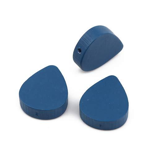 SiAura Material - 30 perlas de madera azules de 16 mm x 19 mm con agujero de 1,1 mm I forma de gota plana I para manualidades, enhebrar y pintar.