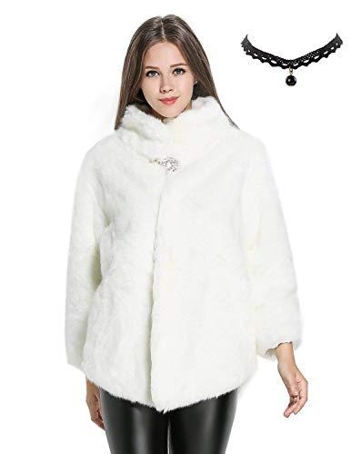 Semia Mujer Elegante Abrigos Chaquetas de Pelo Sintético de Manga Larga Cárdigan Outwear Invierno Blanco S/M