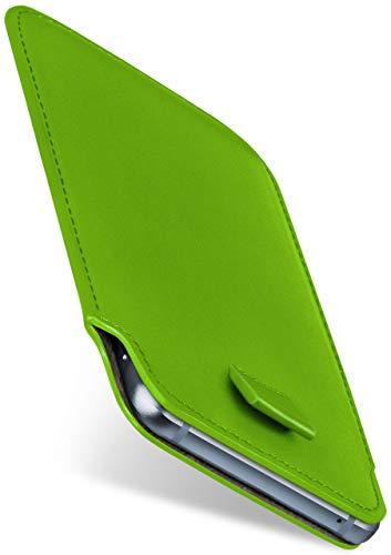 moex Slide Hülle für LG G Flex 2 - Hülle zum Reinstecken, Etui Handytasche mit Ausziehhilfe, dünne Handyhülle aus edlem PU Leder - Grün