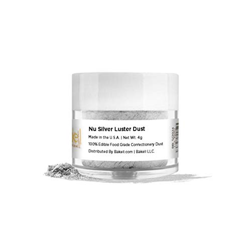 BAKELL Nu Silver Edible Luster Dust & Paint, 4 Gram | LUSTER DUST Edible Powder | KOSHER Certified Paint, Powder & Dust | 100% Edible & Food Grade| Cakes, Cupcakes, Vegan Paint & Dust (Nu Silver)