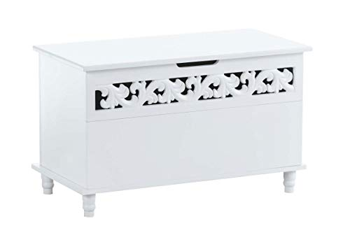 Banc-Coffre en Bois Millie I Meuble de Rangement Blanc avec Coffre de Rangement et Couvercle I Banquette de Couloir I Design Rustique, Couleurs:Blanc