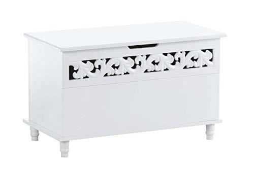 CLP Truhenbank Millie mit aufklappbarem Deckel | Sitzbank im Landhausstil | Wäschetruhe mit floralen Elementen im Landhausstil, Farbe:weiß