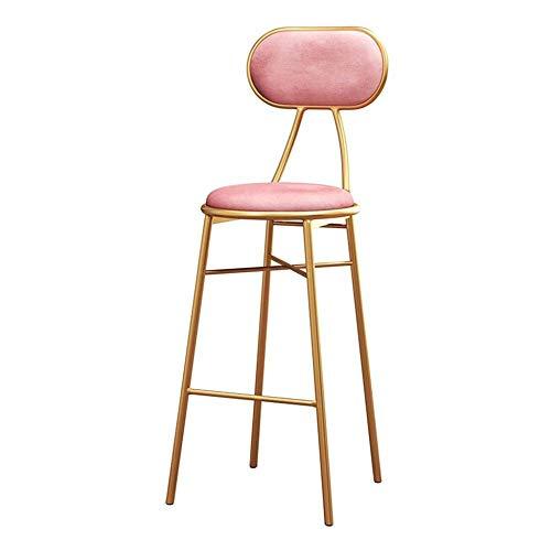 ZBYY Barhocker Mit Rückenlehne Pink Velvet Cushion Gepolsterte Fußstütze Metallbeine Dining Chair Max.200kg,SeatHeight75cm