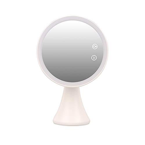 HYHY Schminkspiegel Mit Licht, LED-Kosmetikspiegel, 5-Fach Vergrößerung Im 3-Licht-Modus, USB-Lade-Touchscreen, Um 90 ° Drehbar