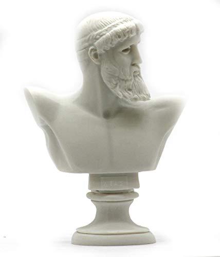 Escultura griega del rey romano Dios Zeus Busto cabeza de alabastro 16 cm