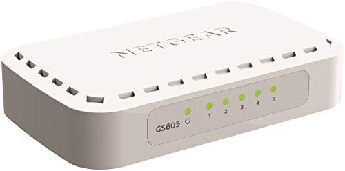 NETGEAR GS605 Switch 5-Port Gigabit Ethernet LAN Switch (Plug-and-Play Netzwerk Switch, LAN Verteiler, energieffizienter Hub, lüfterlos)