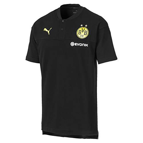 Puma Herren BVB Casuals Polo with Evonik Poloshirt, Black-Phantom Black, XS