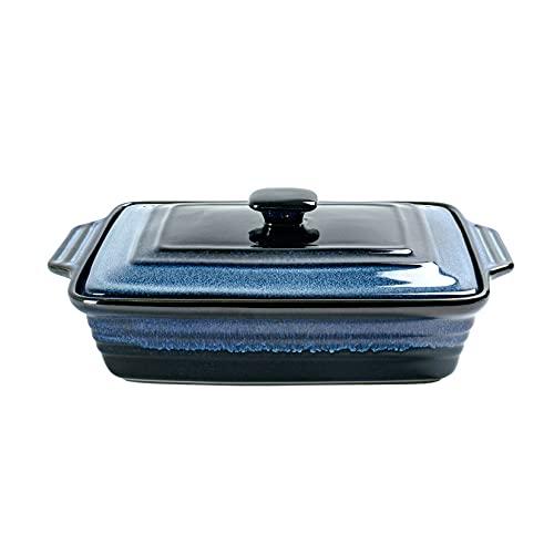 UNICASA - Cacerola rectangular con tapa, 3000 ml de galón, esmalte reactivo azul para hornear, apto para microondas