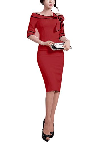 Women's 1950s Vintage Half Sleeve Wear to Work Casual Business Office Pencil Sheath Dress 172 (M, Burgundy)