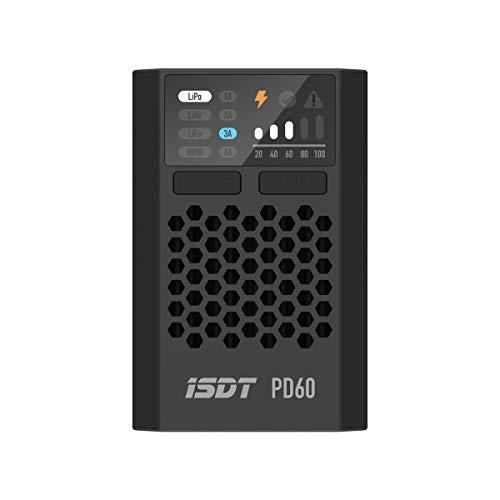 ISDT PD60 - Cargador de batería de polímero de litio (60 W, 6 A, para baterías 1-4S LiPo/LiPo, LiPo, LiPo, LiLiPo, Pb, NiMH)