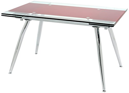 Manchester Furniture Supplies Micha Modern Red Extendable Glass Dining Table 175cm