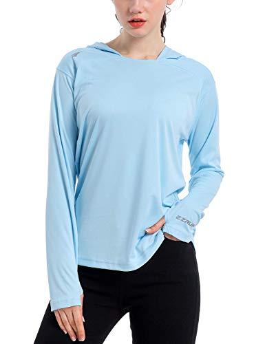 Women's UPF 50+ UV Sun Protection Hoodie Shirt Dry Fit SPF Long Sleeve Outdoor Performance Fishing Hiking Shirts(Blue,L)