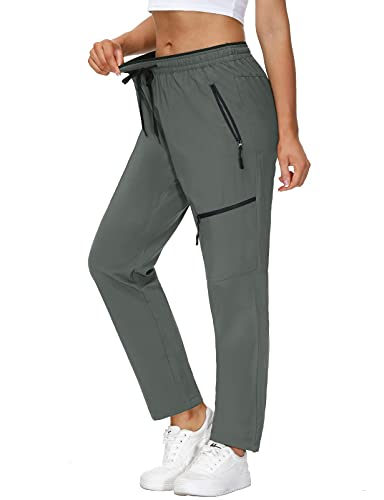 SPECIALMAGIC Women's Hiking Pants Outdoor Lightweight Quick Dry Cargo Sweatpants Elastic Waist Joggers Grey S