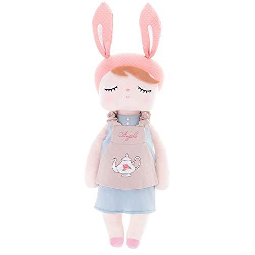 Thrivinger MeToo Puppe Angela Vintage Super Weiches Plüsch Gefüllt Bunny Doll, Mit Teekanne, Pudding, Fahrrad, Lila Rock Muster/Großes Geschenk Für Baby Girl.