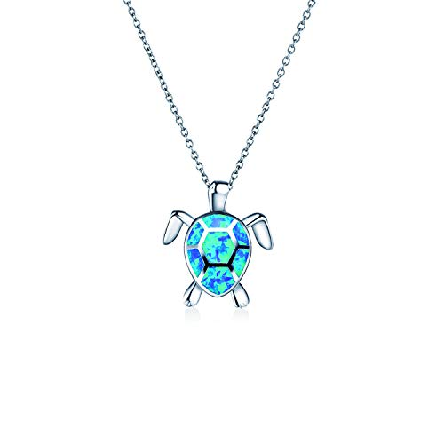 ATIMIGO Cute Sea Turtle Pendant Necklace Created Opal Necklace Silver Chain Animal Jewelry Gift for Women Girls(Blue)