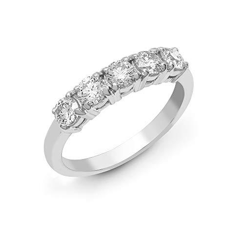 Jewelco Europa Anillo de eternidad de pentalogía con 4 garras redondas de oro blanco de 18 quilates macizo G SI1 1.25 ct con diamantes y 5 piedras