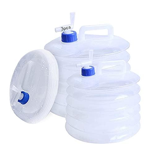 Anyingkai Bidón de agua plegable, depósito de agua, con grifo, depósito de agua sin BPA, para camping, senderismo, pesca, escalada, picnic, viajes al aire libre (5 + 10 + 15)