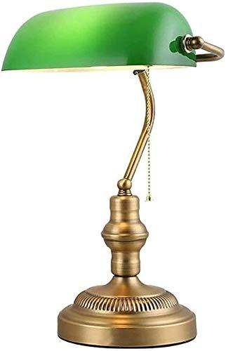 Lámpara de escritorio Bankers Lámpara de mesa antigua Base de latón y pantalla de lámpara de vidrio verde Lámpara de escritorio No incluida (color verde)