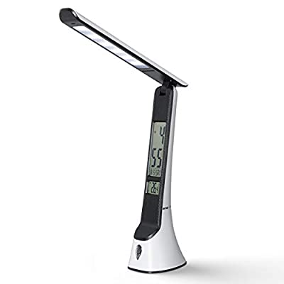 Ouesen Multifunctional LED Desk Lamp LCD Screen with 3 Lighting Modes,Touch Control,Memory Function,Built-in Clock,Calendar,Thermometer,Eye-Caring Desk Lamp with USB Charging Port for Home and Office