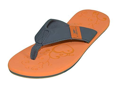 MADSea Damen Zehenstegpantolette Beach Woman Zehentrenner Sandale orange dunkelgrau, Größe:39 EU