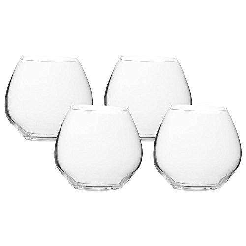 VANILLA SEASON Bohemia Cristal Juego de 4 vasos de cristal, 440 ml de capacidad, forma abombada baja para vaso de agua, whisky, ron, coñac, vasos, liwa