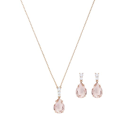 Swarovski Vintage Jewellery Set - Sparkling Women's Swarovski Necklace and Earring Pair with White and Pink Crystals in a Rose-gold Tone Plating
