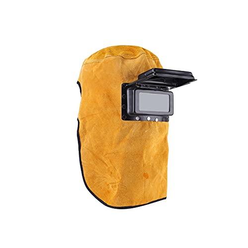 Careta Soldar Automatica, UNISOPH Máscara de protección para Soldadura de Cuero, Reutilizable Careta Soldar con Lente de Vidrio, Amarillo