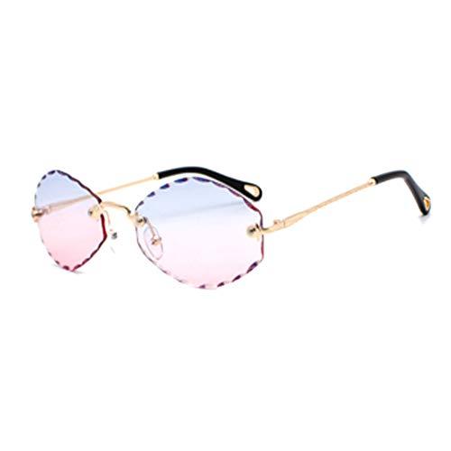 Huicai Gafas de sol de moda sin marco con corte de diamante para mujer Tendencia de la moda Ocean Piece Gafas de sol sin marco Street Shot Glasses