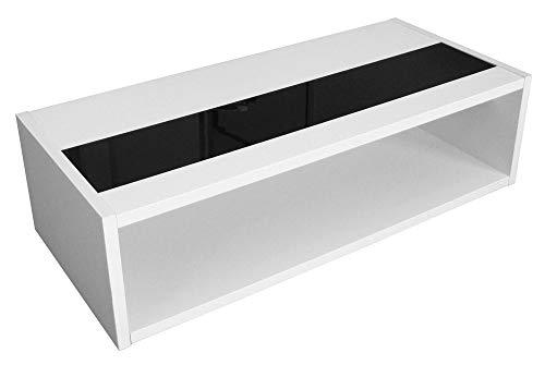 Berlioz Creations Mandise Table Basse, Blanc Brillant et Noir, 116 x 51,5 x 34 cm, Fabrication 100% Française