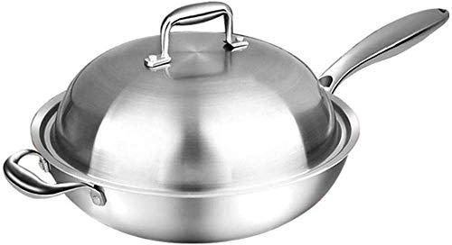 Ollas de cocina Sartenes Sartén Wok de acero inoxidable Sartén para saltear Wok con tapa y asa, para utensilios de cocina de gas/inducción Wok multiusos de acero inoxidable