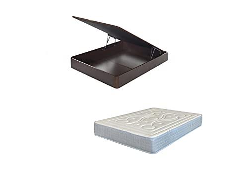 MICAMAMELLAMA Pack Ahorro Canapé de Madera Abatible + Colchón muelles ensacados Reversible viscoelástico (Wengue, 135x190)
