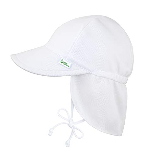 i play. by green sprouts Unisex-Child Breathable Flap Sun Protection Hat, White, 0/6mo