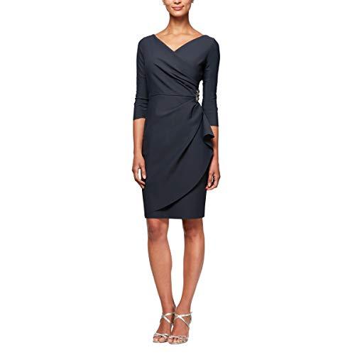 Alex Evenings Women's Petite Slimming Short Sheath 3/4 Sleeve Dress with Surplus Neckline, Charcoal, 12P