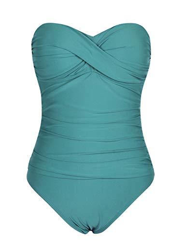 Hilor Women's Bandeau One Piece Swimsuits Front Twist Swimwear Ruched Bathing Suits Tummy Control Bluebird Blue 18