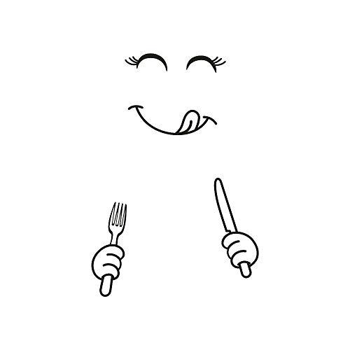 EROSPA® Kühlschrank-Aufkleber Sticker - Messer Gabel Augen Mund Gesicht - 50 x 70 cm - Schwarz