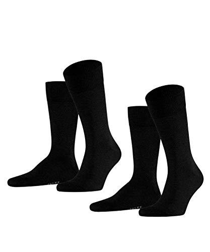 FALKE Happy 2-Pack Herren Socken black (3000) 39-42 Baumwollstrumpf für jedes Outfit