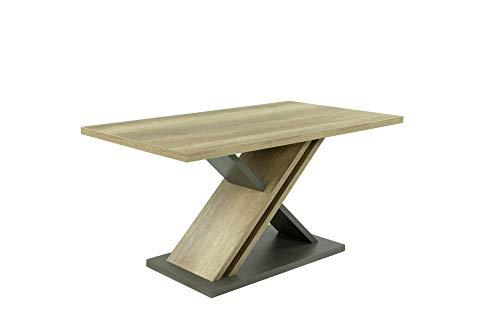 HOMEXPERTS Tisch JAX / Rechteckiger Säulen-Tisch in Eiche-Optik hell-braun / Designer-Esszimmertisch / 160 x 80 x 75 cm (BxHxT) / Melamin Monument Oak, Applikation Melamin anthrazit