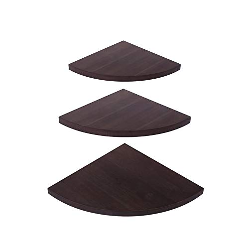 OROPY Wall Mount Solid Wood Floating Corner Shelves Set of 3, Rustic Wall Storage Display Shelf for Bedroom, Living Room, Kitchen, Office (11.4-9.8 -7.8 inches)